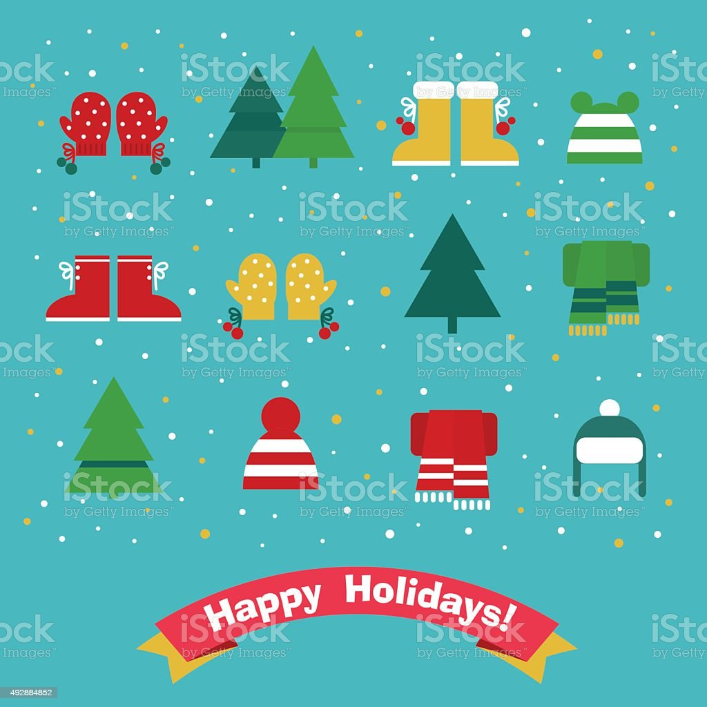 Christmas icons vector set: tree, hat, boots, scarf and mittens vector art illustration