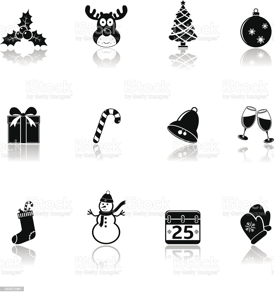 Christmas icons with reflection royalty-free stock vector art