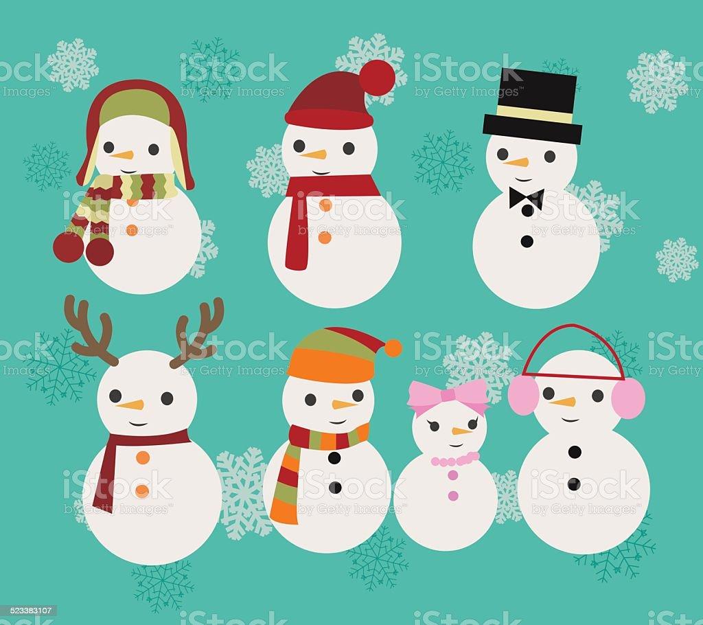 Christmas Illustration set of snowmen vector art illustration