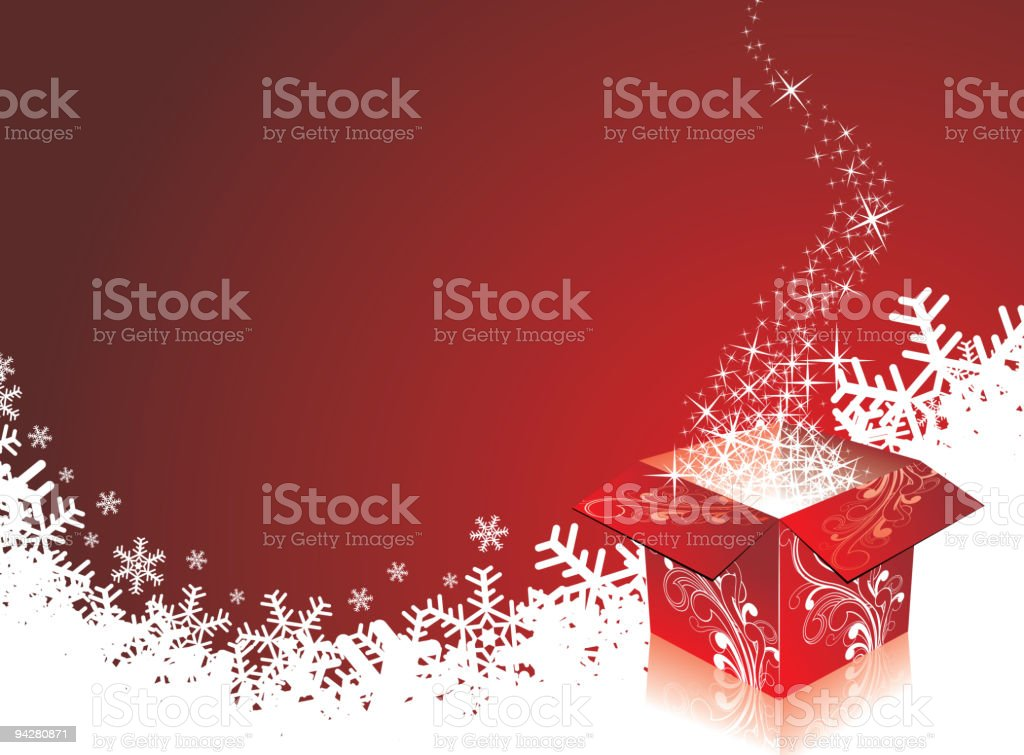 Christmas illustration with gift box. royalty-free stock vector art