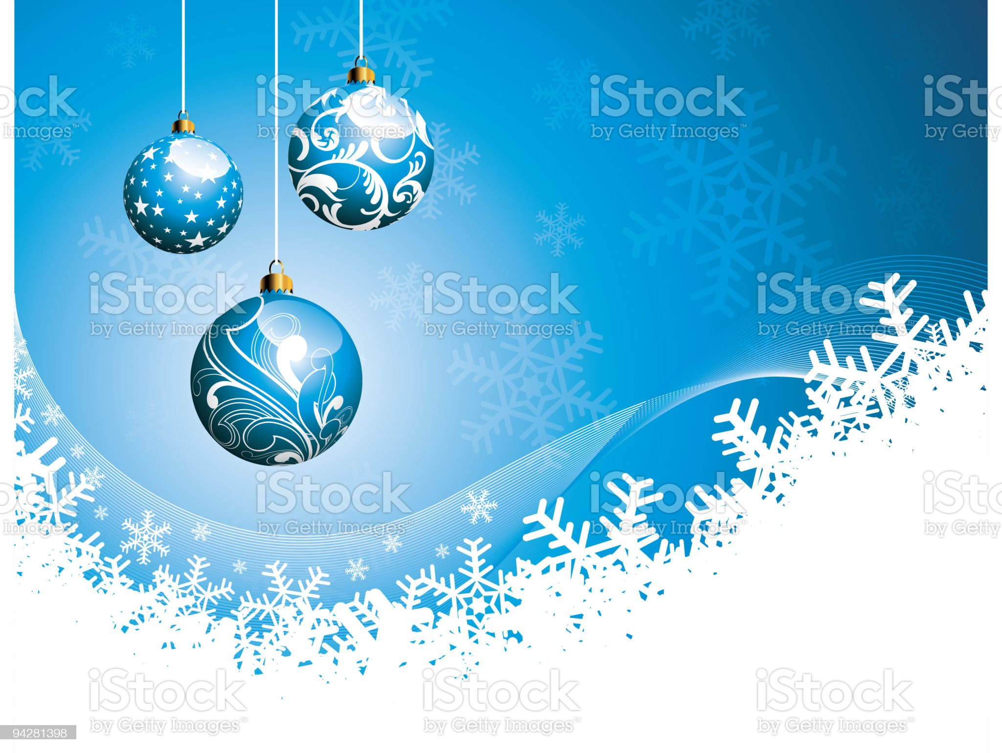Christmas illustration with glass balls on blue background. royalty-free stock vector art