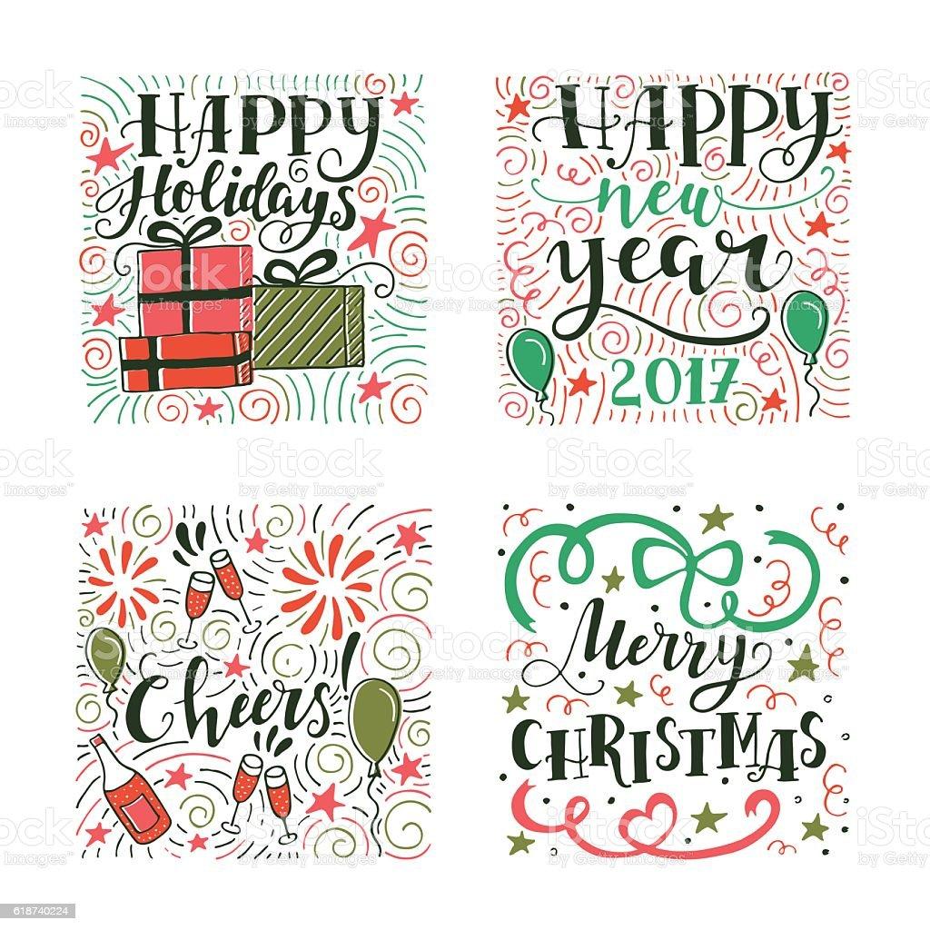 Christmas illustration with lettering vector art illustration