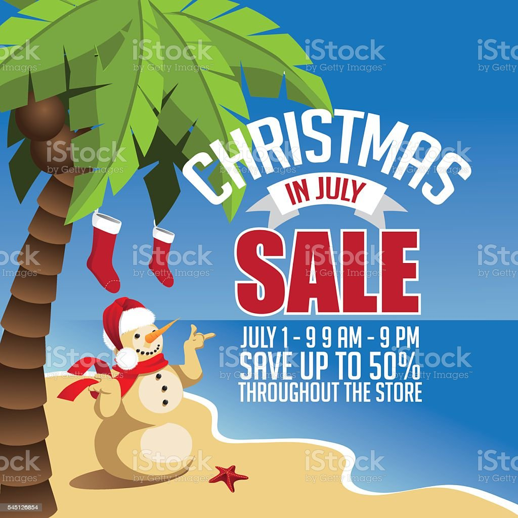 Christmas in July Sale marketing template. vector art illustration