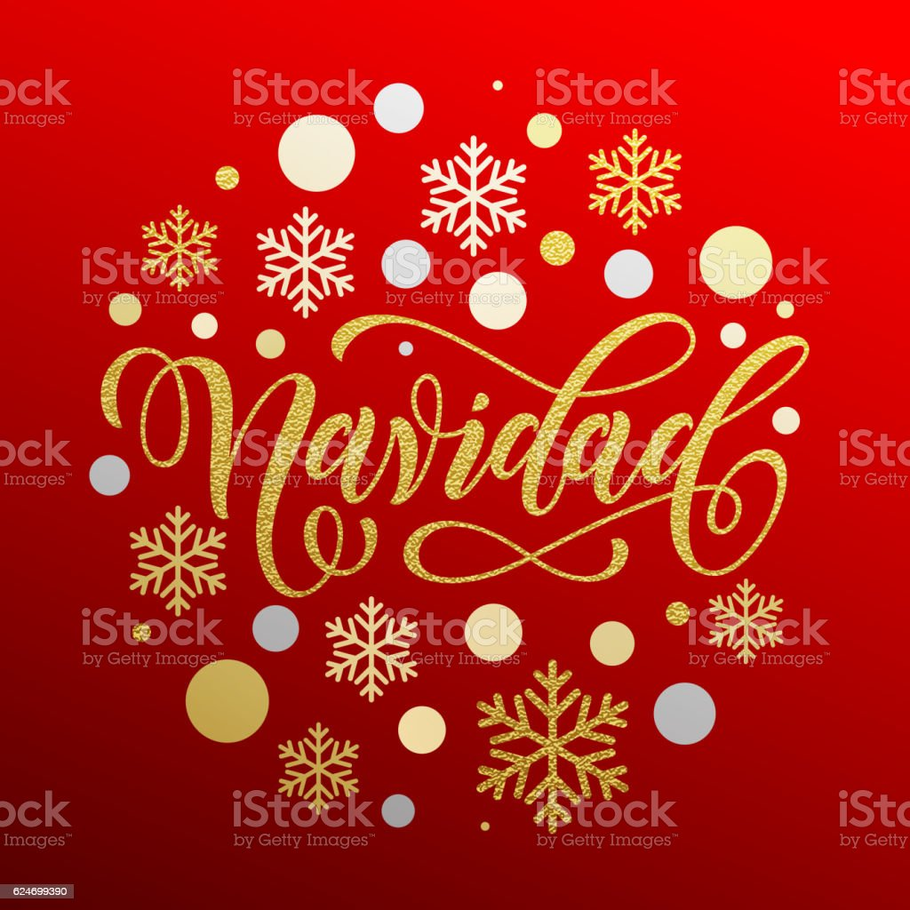 Christmas in Spanish Navidad gold calligraphy vector art illustration