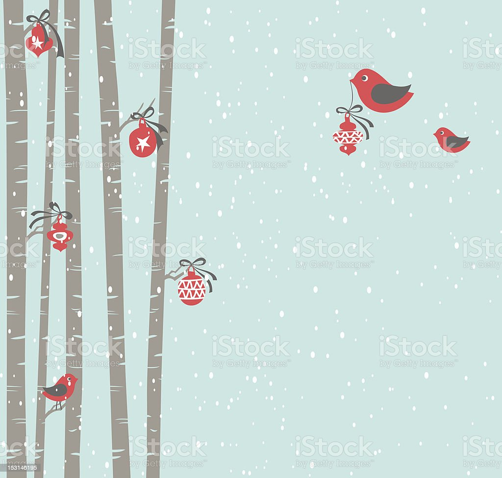 Christmas in the Forest vector art illustration