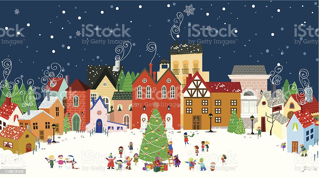 Christmas in town vector art illustration