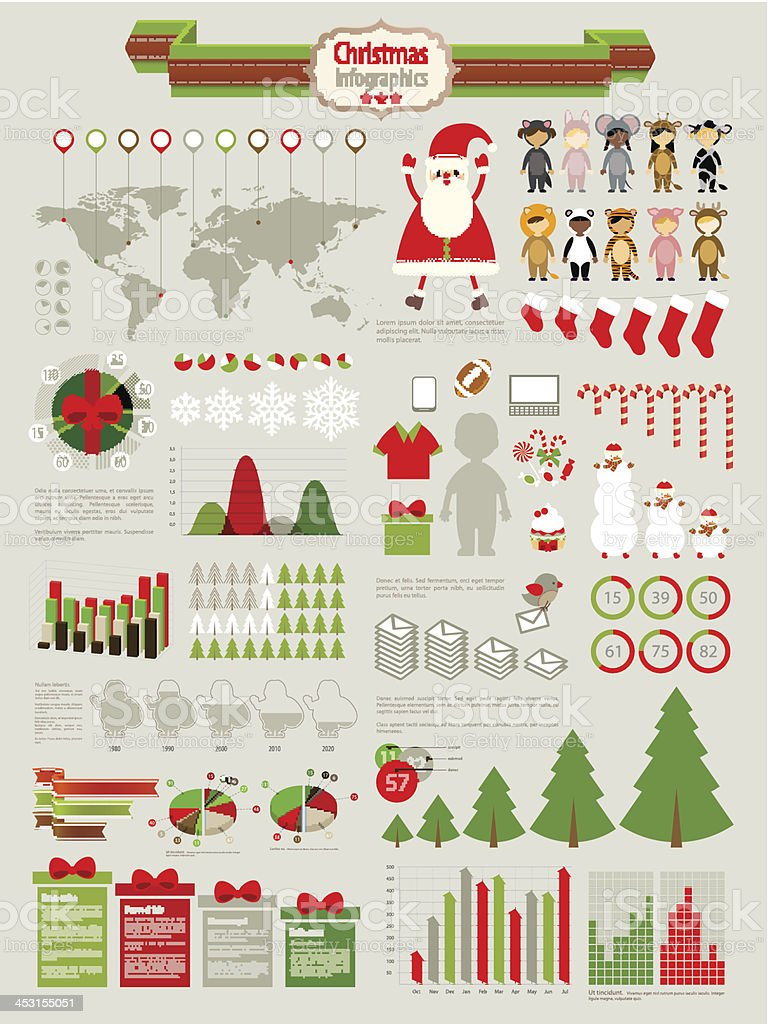 Christmas Infographic set vector art illustration