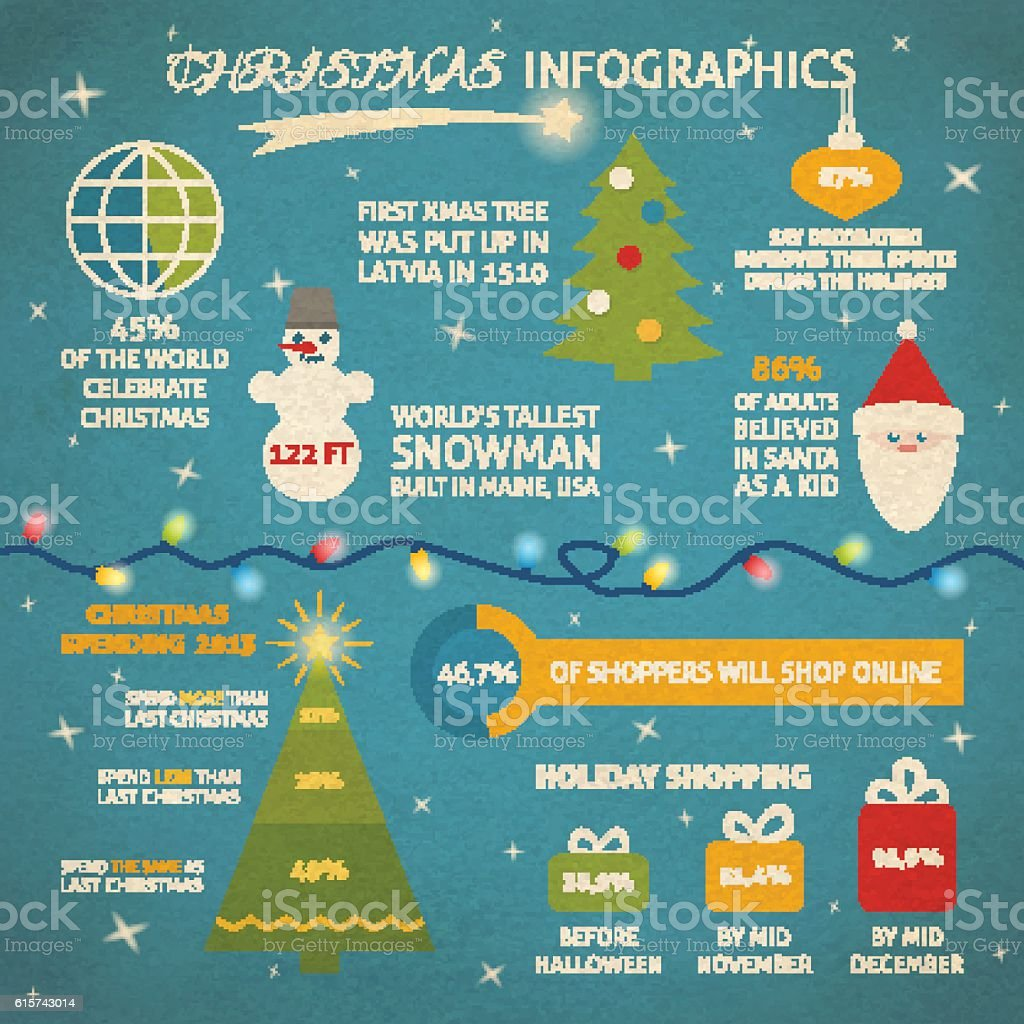 Christmas infographic with sample data vector art illustration