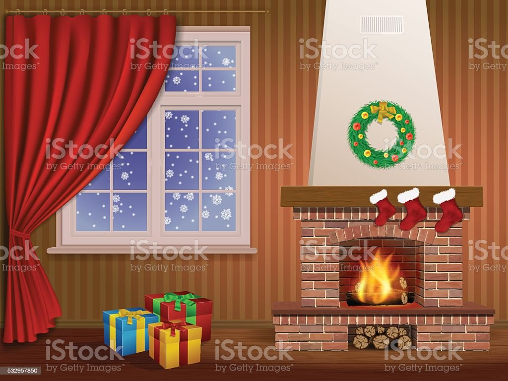 Christmas interior and fireplace vector art illustration