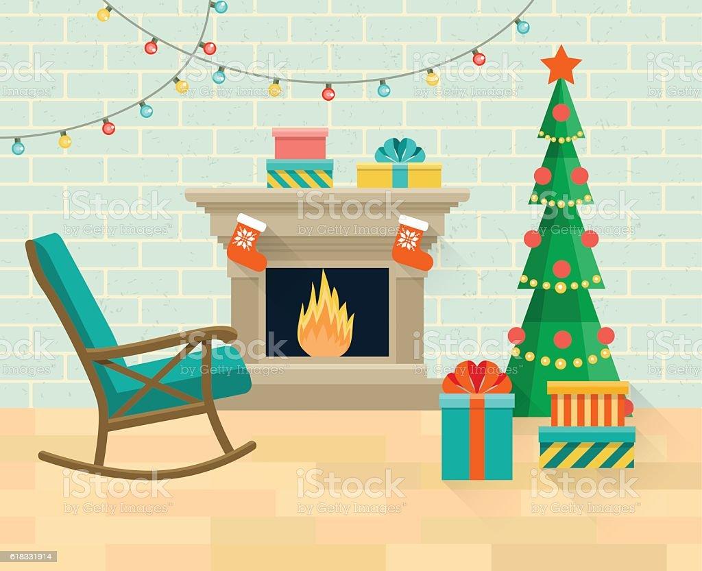 Christmas interior living room. Vector flat illustration vector art illustration