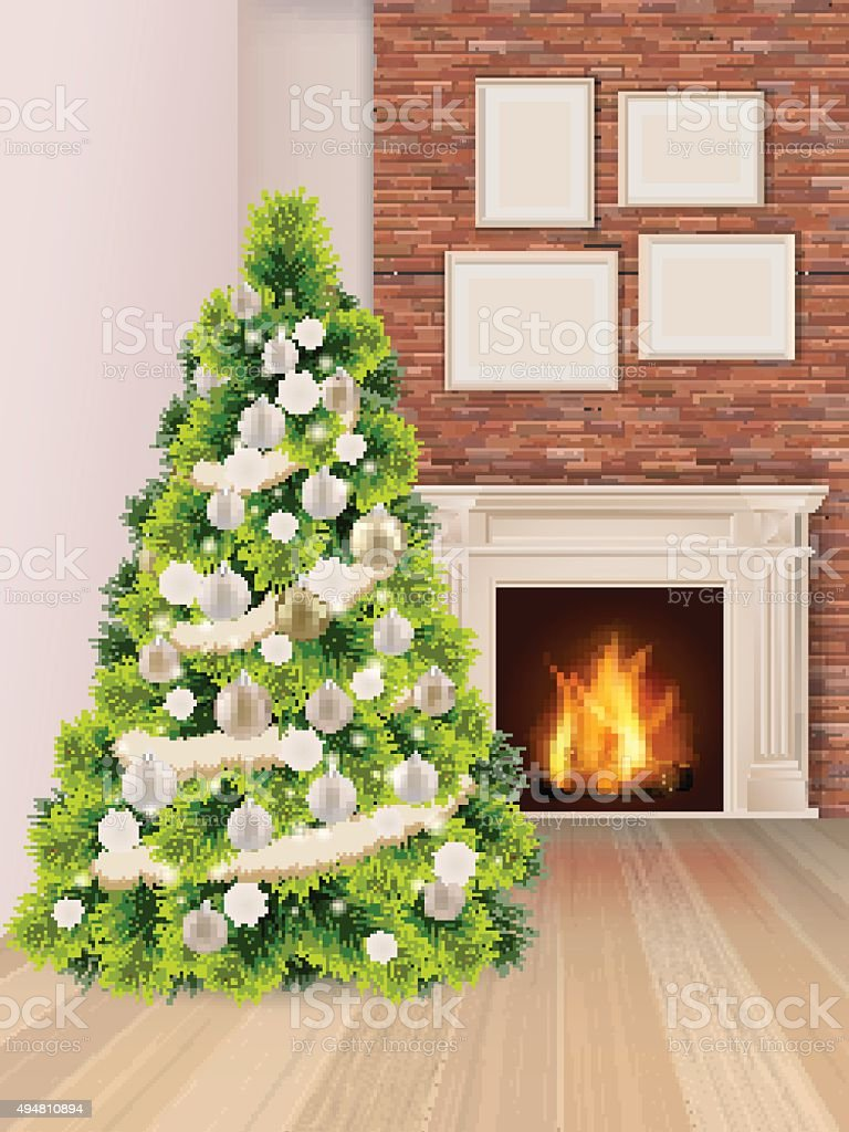 Christmas interior with Christmas tree and fireplace vector art illustration