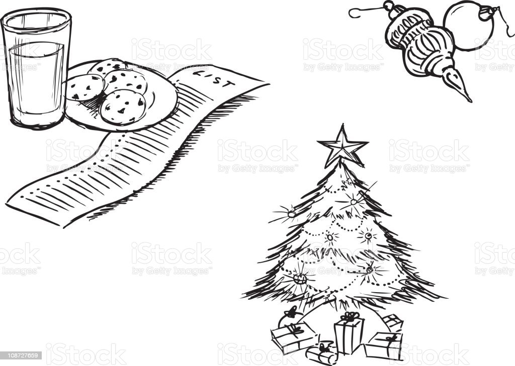 Christmas item - sketches royalty-free stock vector art