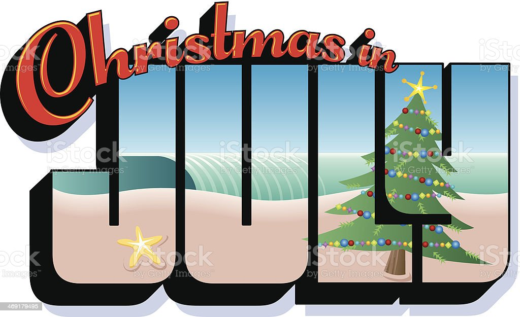 Christmas July Heading C vector art illustration