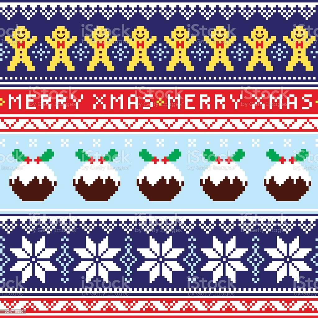 Christmas jumper or sweater seamless pattern with gingerbread man vector art illustration