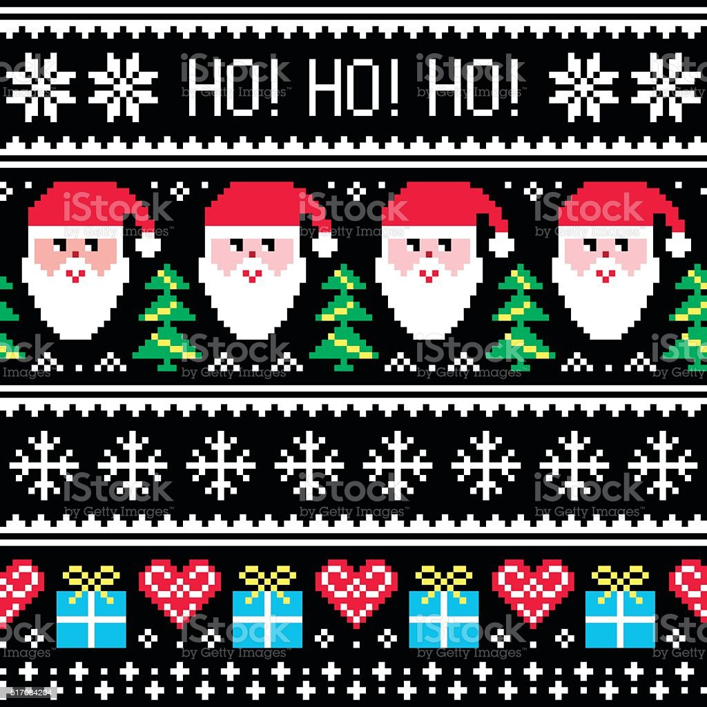 Christmas jumper or sweater seamless pattern with Santa and presents vector art illustration
