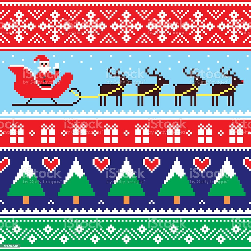 Christmas jumper or sweater seamless pattern with Santa and reindeer vector art illustration