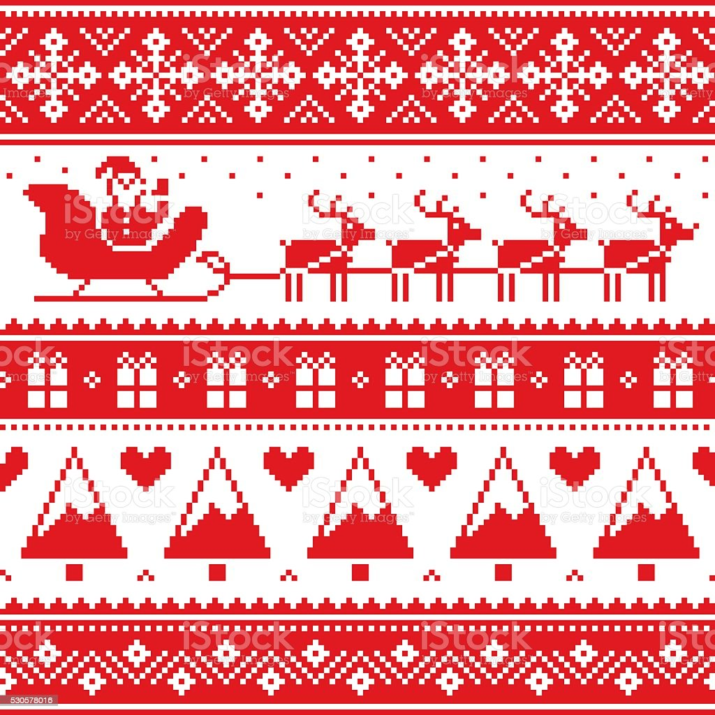 Christmas jumper or sweater seamless red pattern with Santa vector art illustration