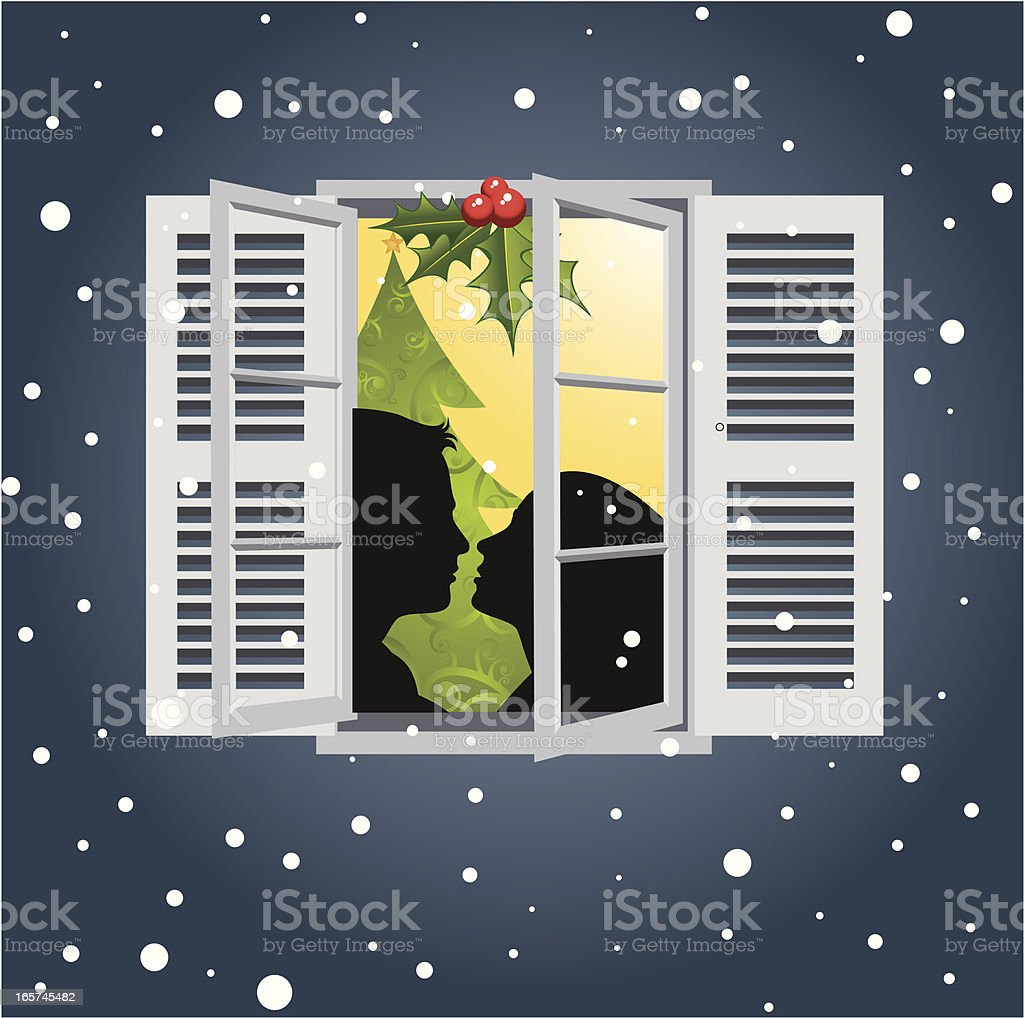 Christmas Kiss royalty-free stock vector art