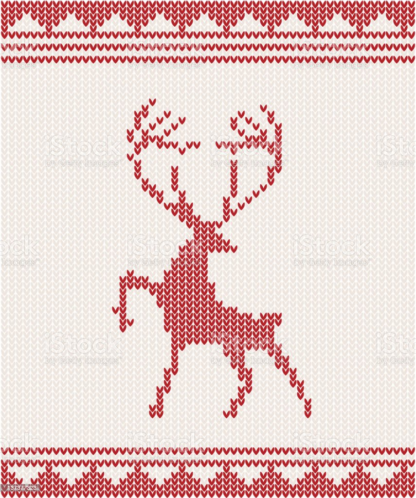 Christmas Knitted background with deer royalty-free stock vector art