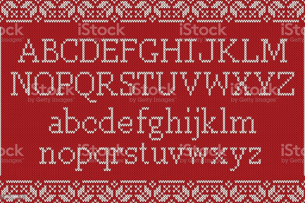 Christmas Knitted Font. Knitted Latin Alphabet on Seamless Background vector art illustration