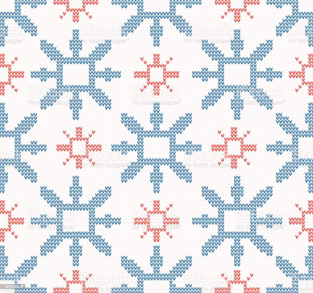 Christmas knitted seamless pattern with blue and red snowflakes vector art illustration