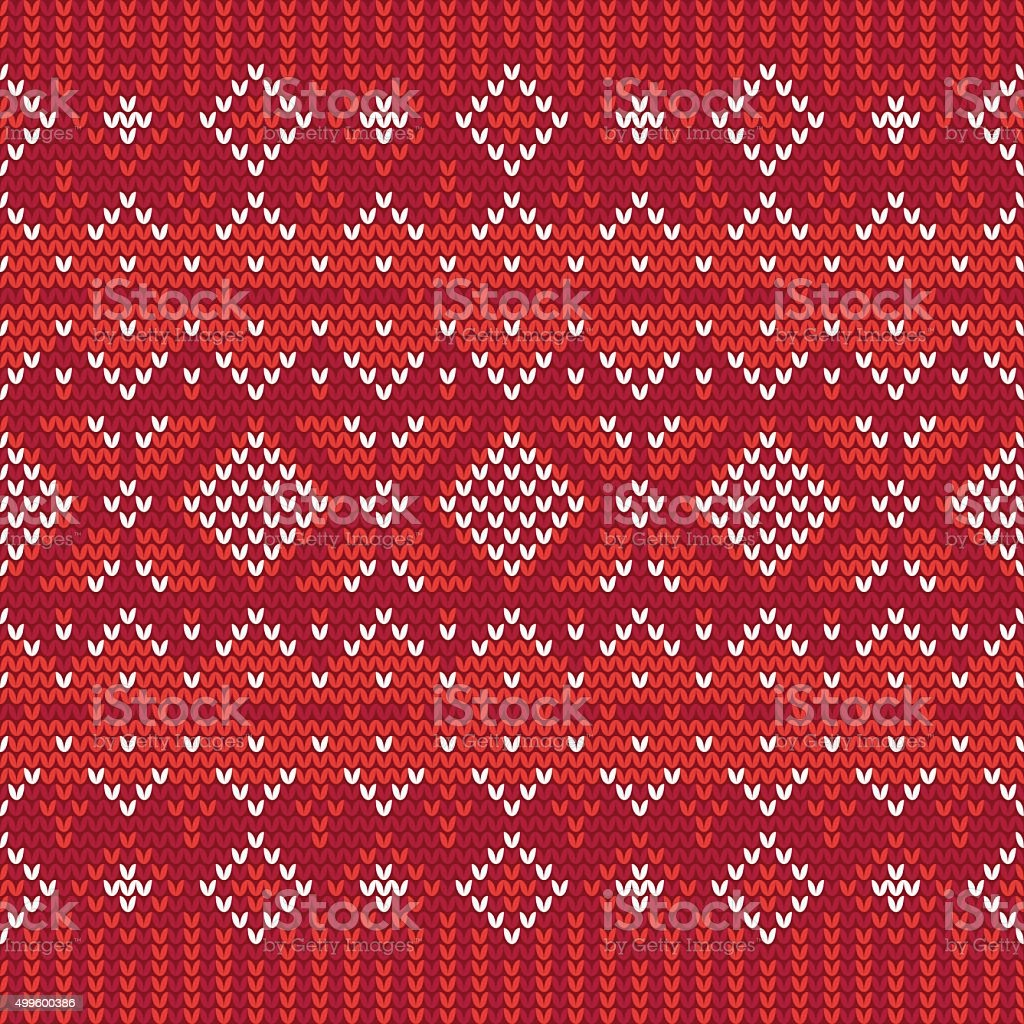 Christmas knitting seamless pattern in White and Red vector art illustration