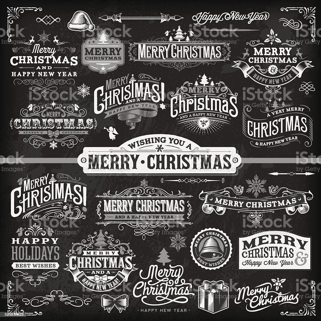 Christmas Label Set - Chalkboard vector art illustration