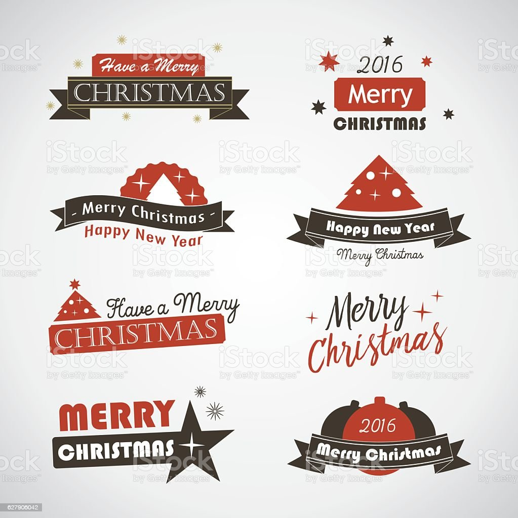 Christmas labels and banners royalty-free stock vector art