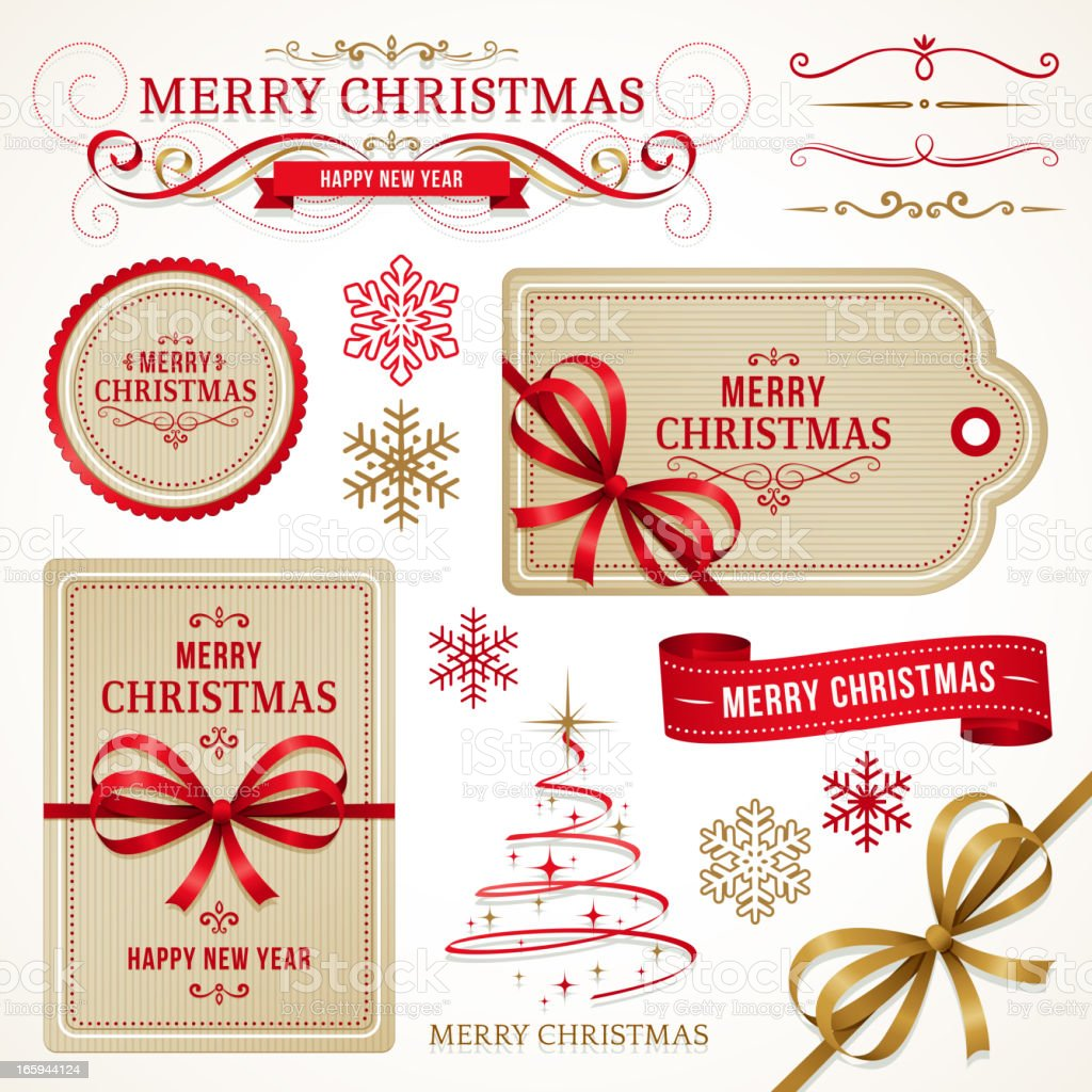 Christmas Labels and Elements royalty-free stock vector art