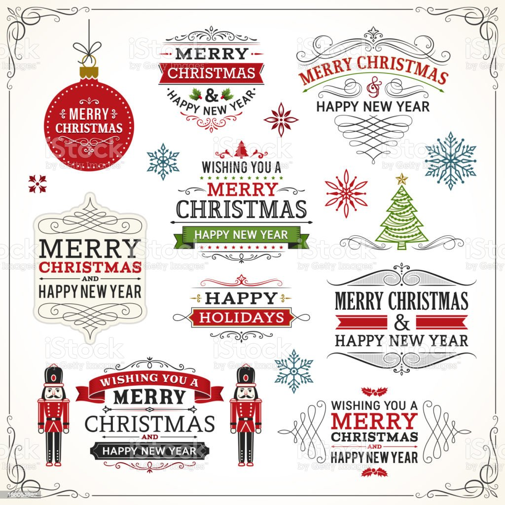 Christmas Labels and Elements vector art illustration