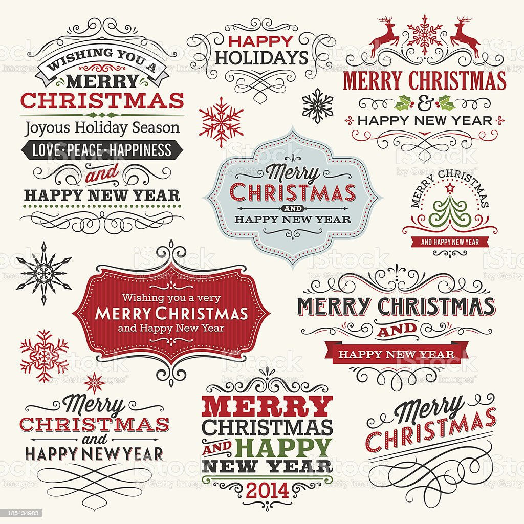 Christmas Labels and Frames vector art illustration