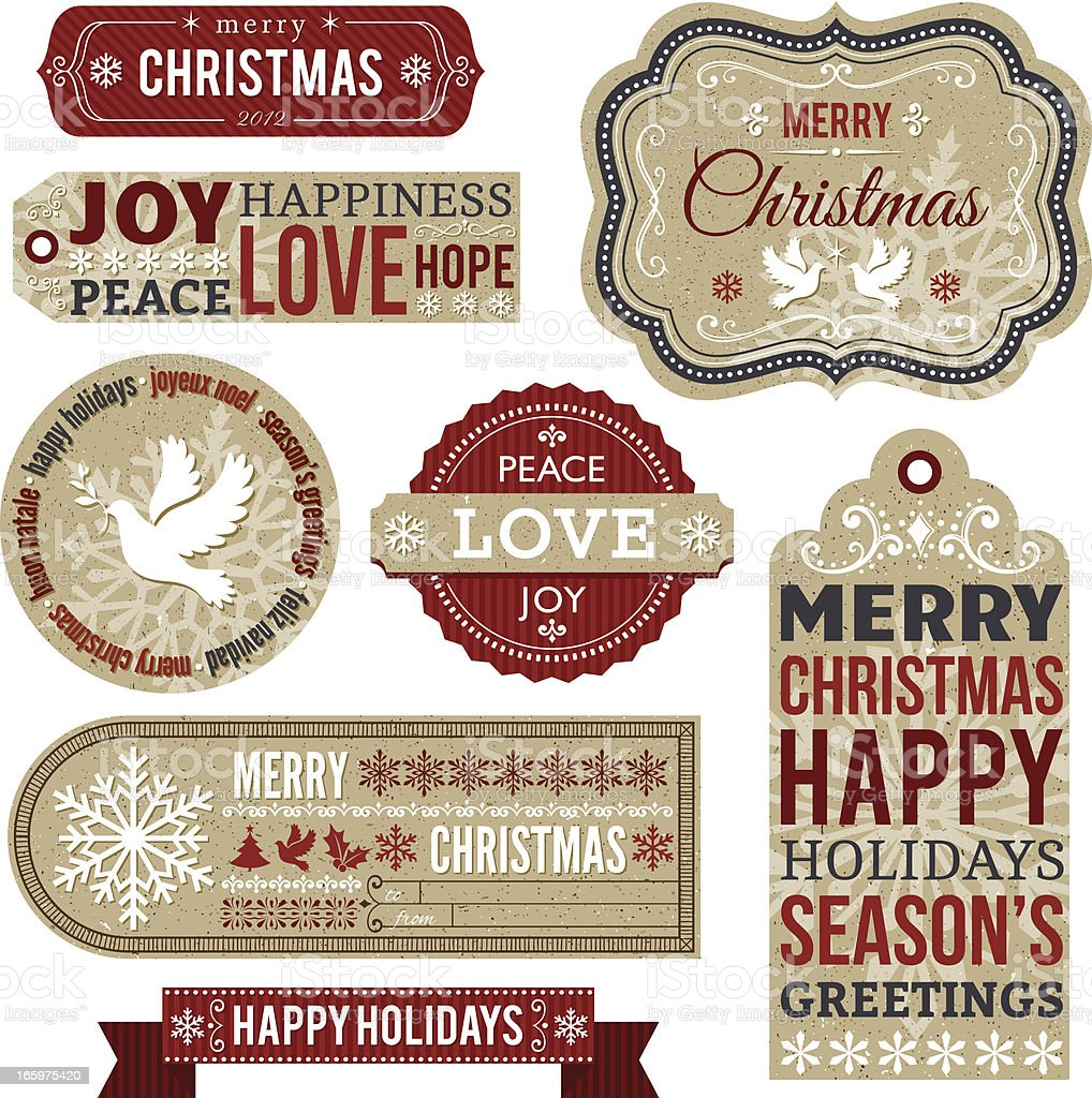 Christmas Labels and Gift Tags royalty-free stock vector art