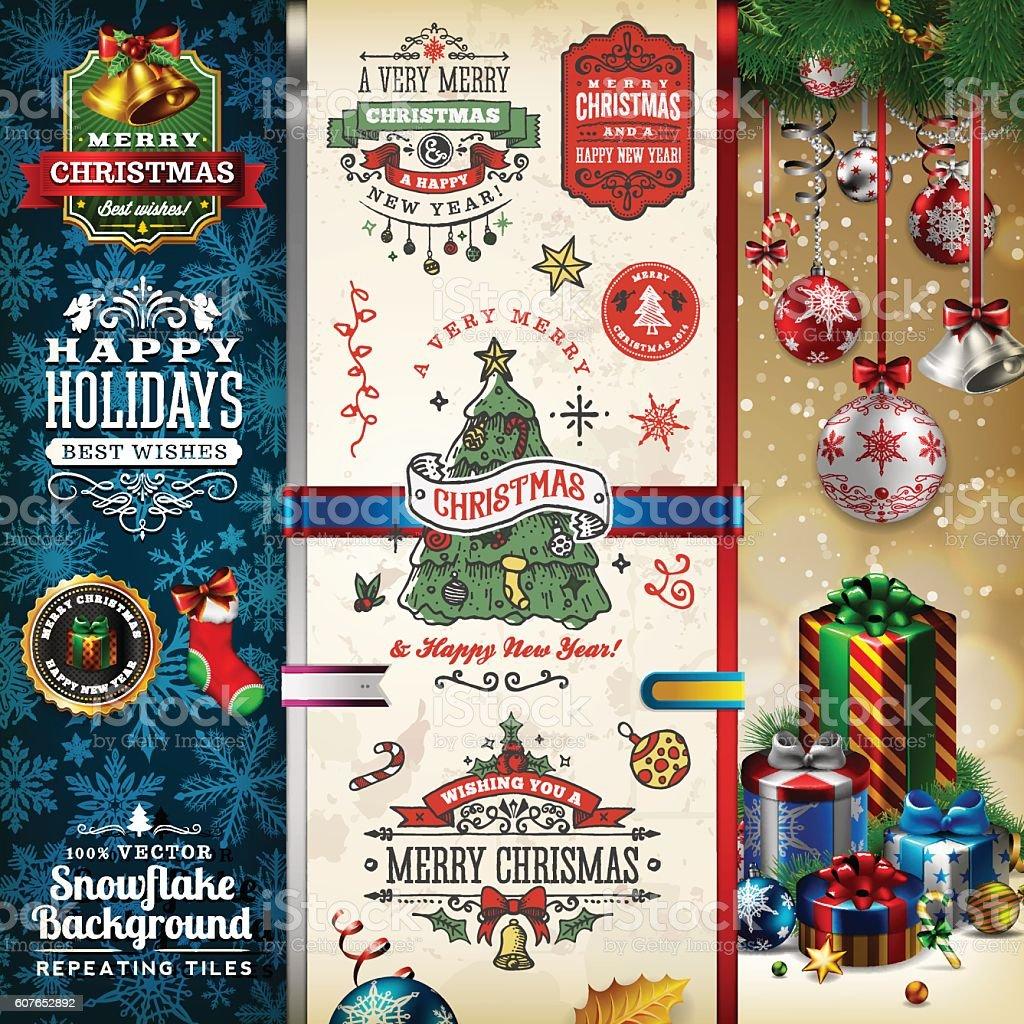 Christmas Labels & Badges Toolset vector art illustration