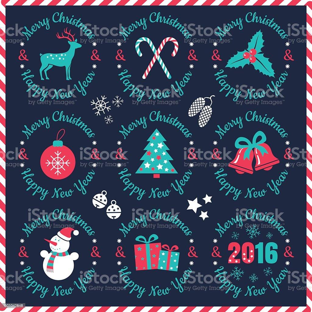 Christmas Labels vector art illustration