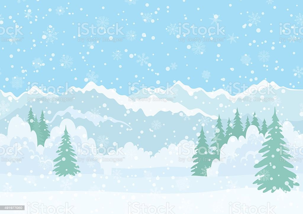Christmas landscape, night winter forest vector art illustration