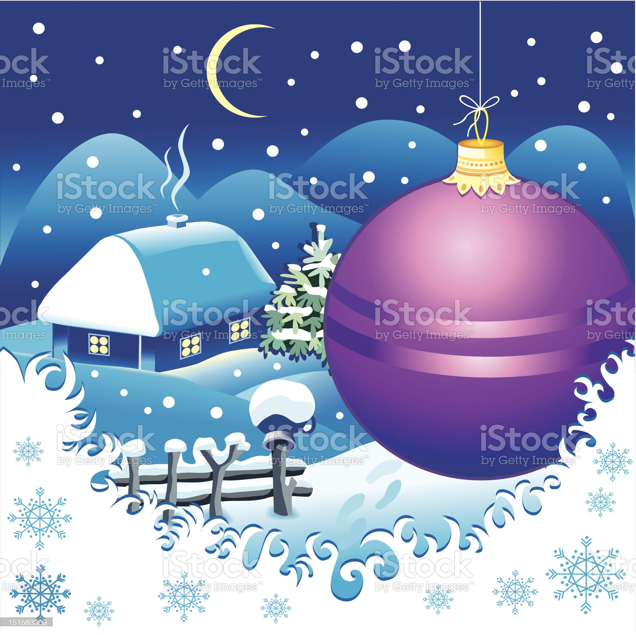 Christmas landscape postcard royalty-free stock vector art