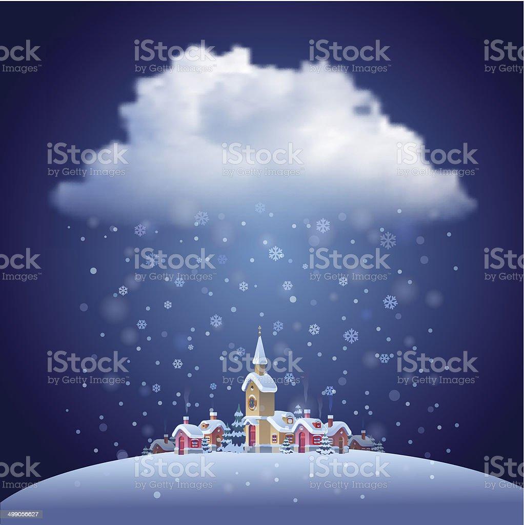Christmas landscape with snowfall vector art illustration