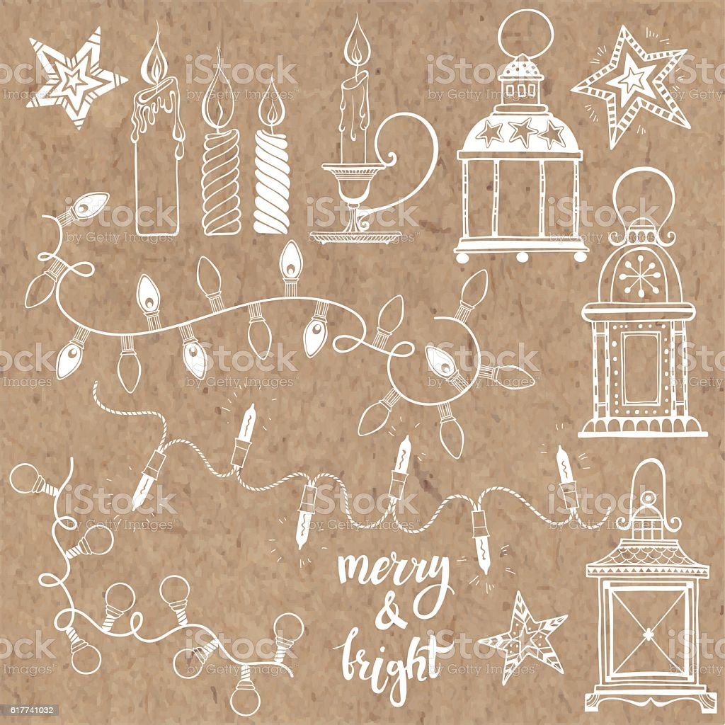 Christmas lanterns, festive garland lights and Christmas candles. vector art illustration