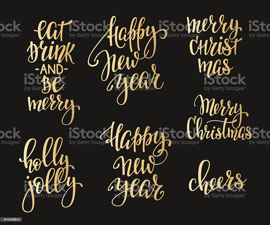 Christmas lettering typography set vector art illustration