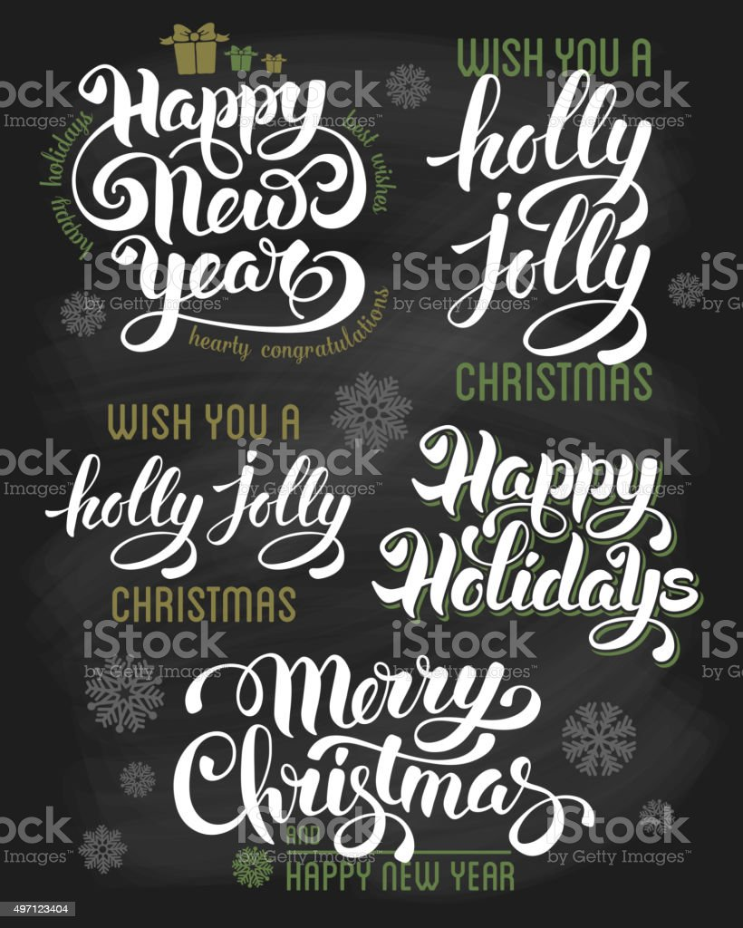 Christmas letterings set vector art illustration