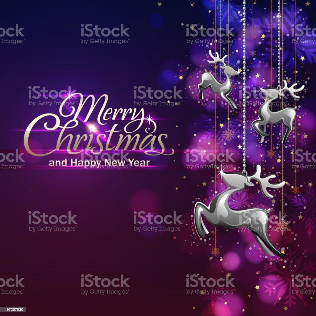 Christmas lights and reindeer vector art illustration