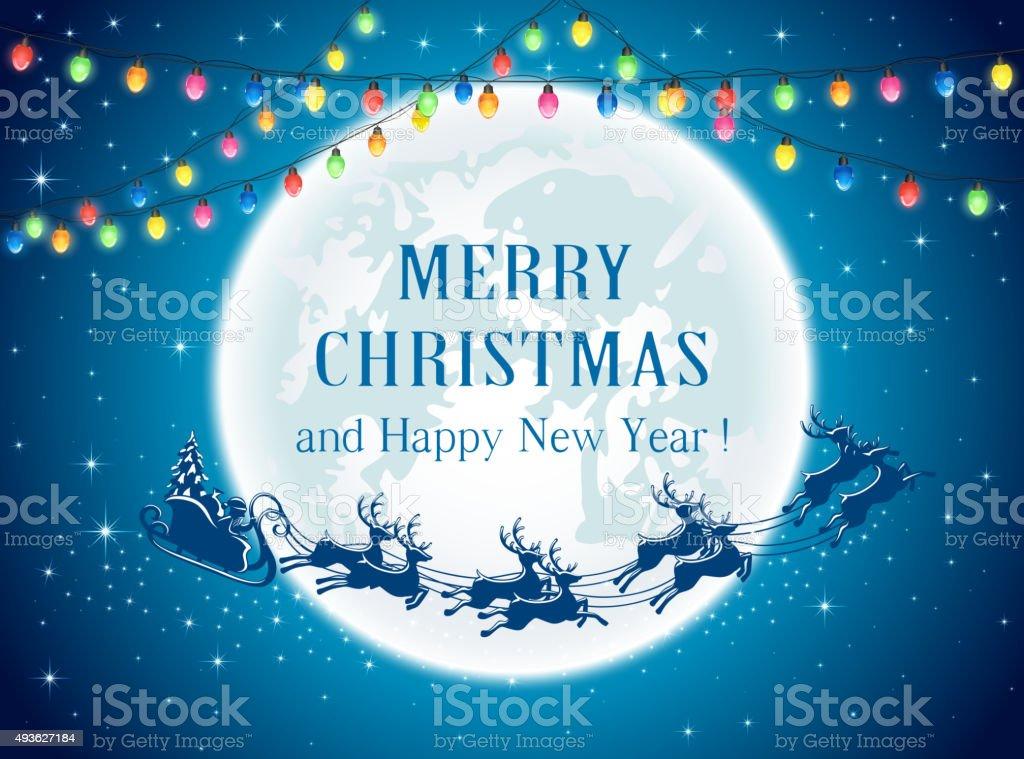 Christmas lights and Santa vector art illustration