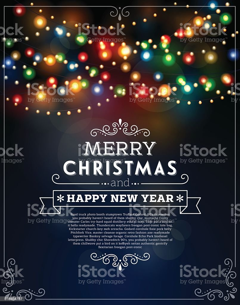 Christmas Lights Bokeh Background vector art illustration