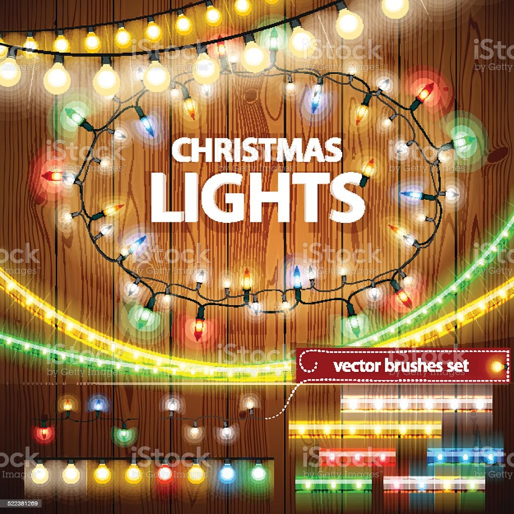 Christmas Lights Decorations Set vector art illustration
