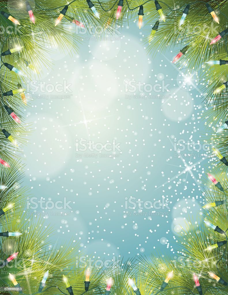 Christmas Lights Evergreen Background Frame vector art illustration