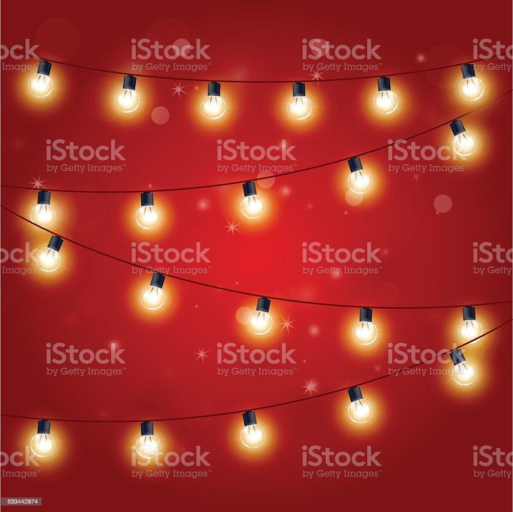 Christmas Lights - festive carnival garland with light bulbs vector art illustration