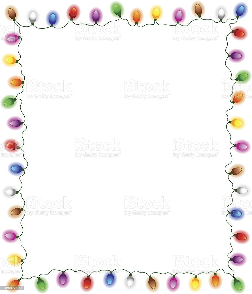 Christmas lights frame isolated royalty-free stock vector art