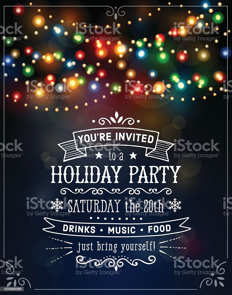 Christmas Lights Invitation vector art illustration