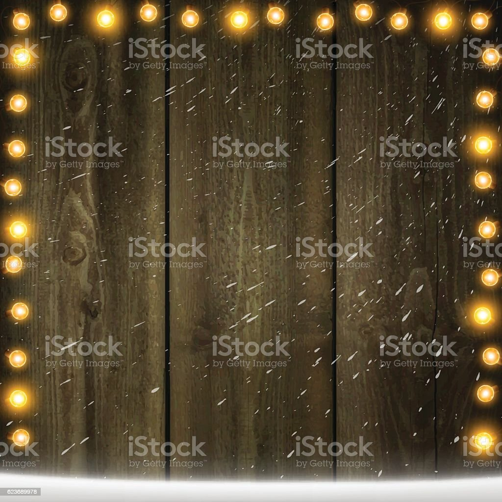 Christmas Lights on Blank wooden background with snow vector art illustration