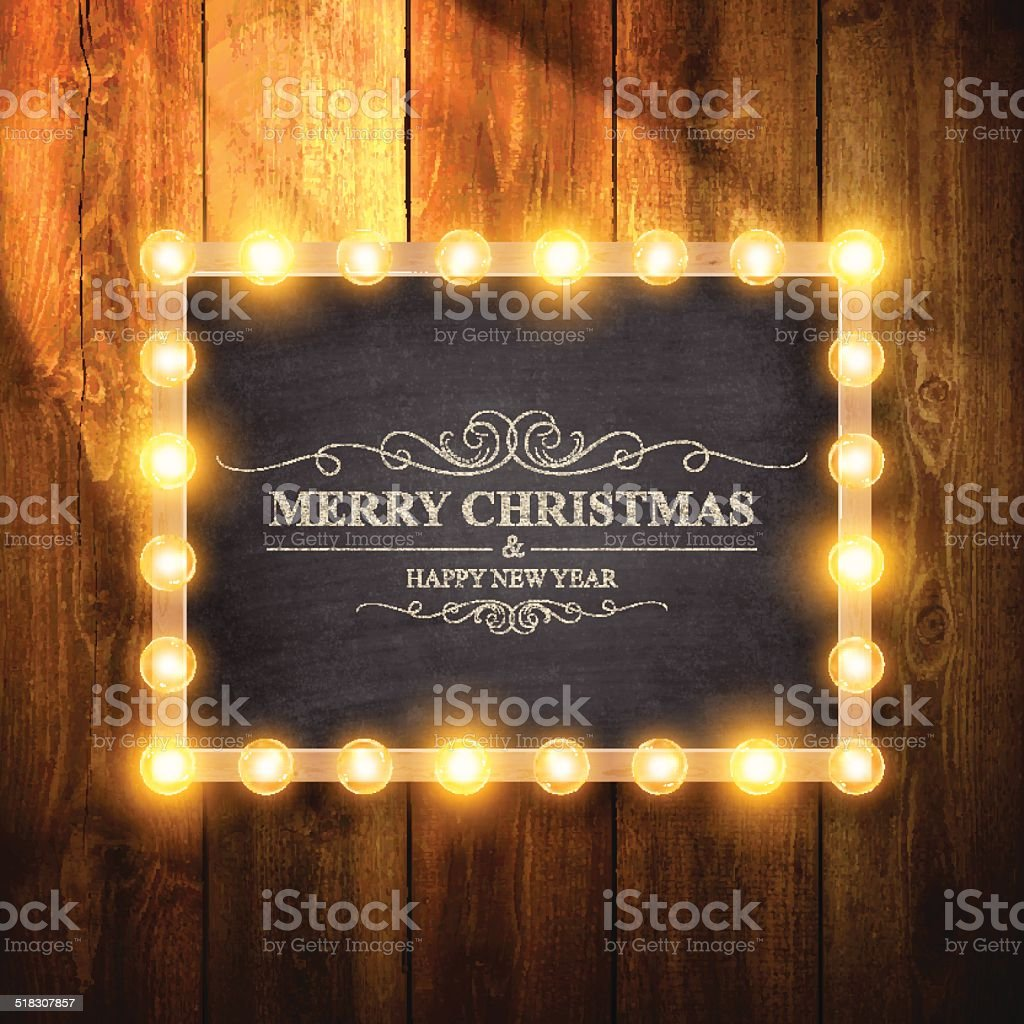 Christmas Lights on Chalkboard and Wooden Wall vector art illustration